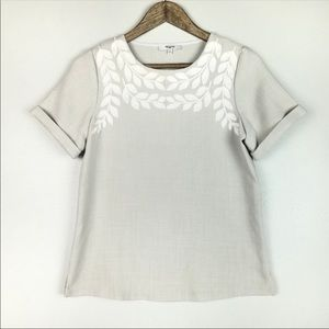 Madewell White Leaf Embroidered Grey Top